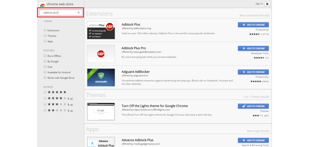 Chrome Web Store search adblock plus