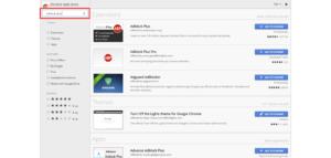 Chrome Web Store search adblock plus