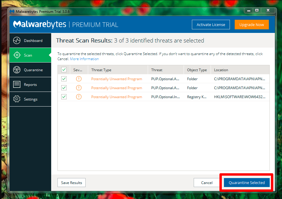 Now you can select all files and click Quarantine Selected option on your Malwarebytes Anti-Malware