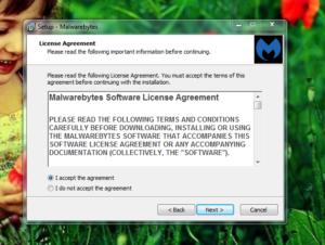 Malwarebytes AdwCleaner installation setup