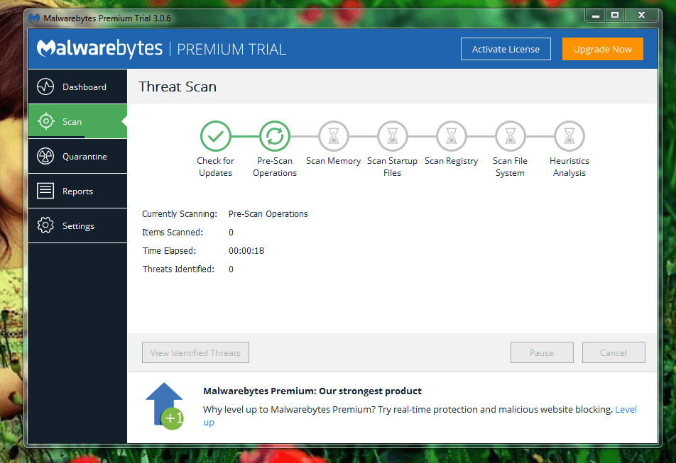 Malwarebytes Anti-Malware Start to Scan your full system