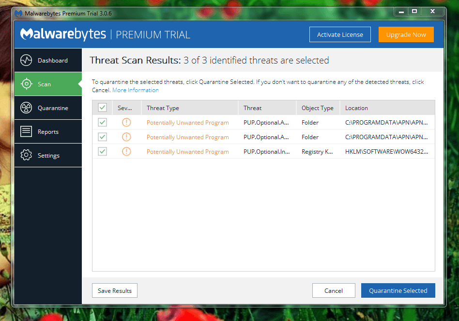 Malwarebytes AdwCleaner shows threats and malwares