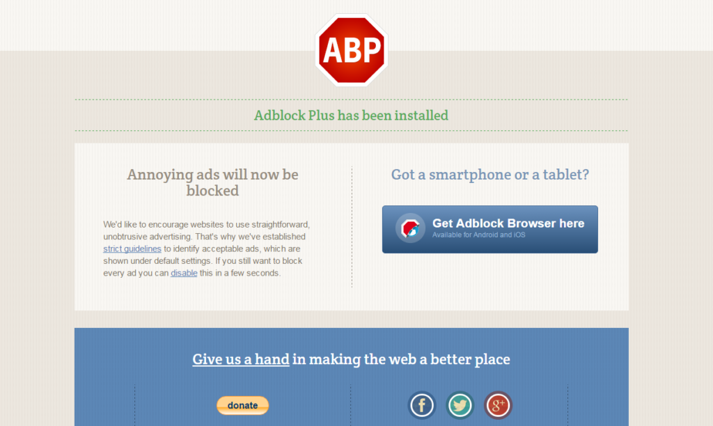 adblock plus has been installed
