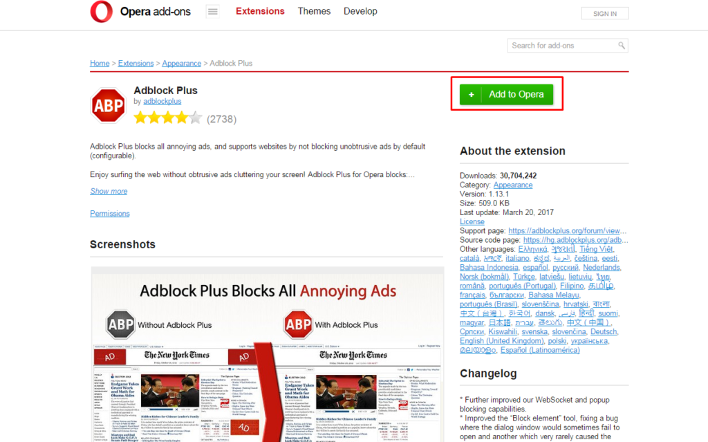 click Add to opera button in AdBlock Plus