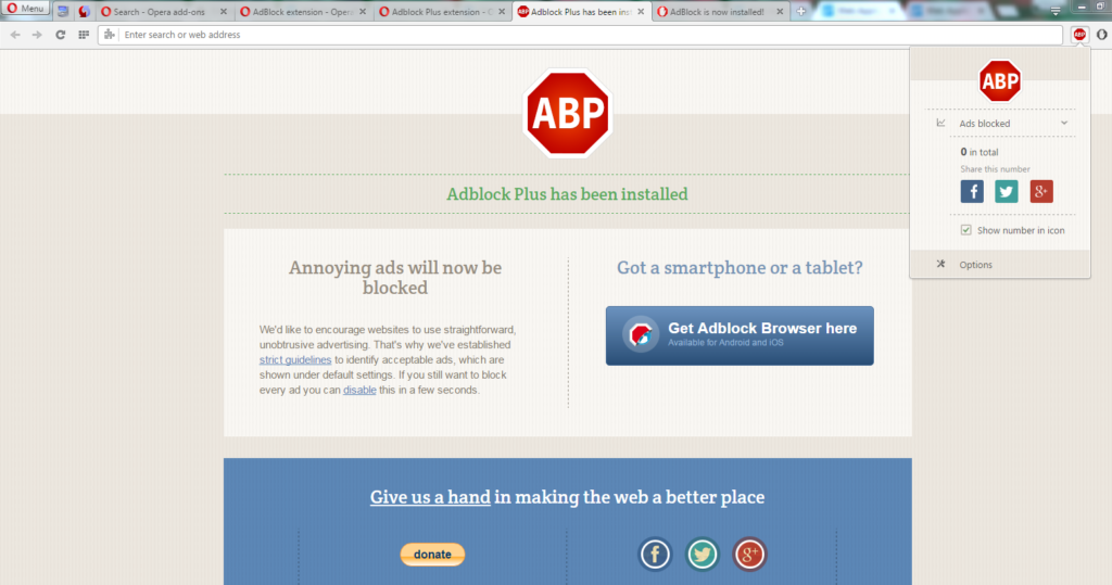 AdBlock Plus is added on your opera mini browser extensions
