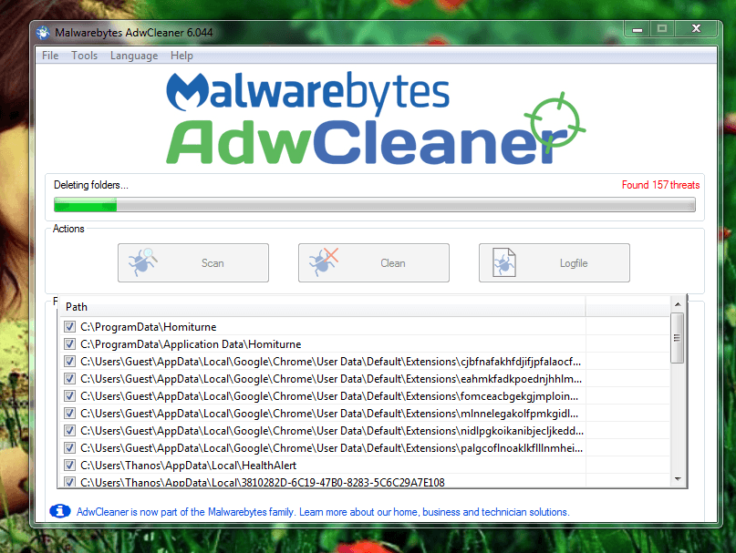 adwcleaner clean system therats ads and malwares