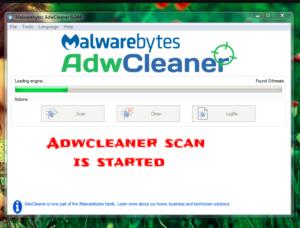 adwcleaner scan is processed
