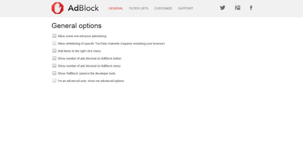 "customize ""AdBlock"" extension"