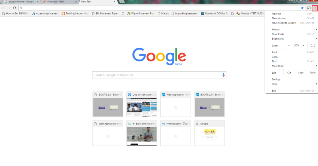 click on customize and control google chrome menu bar