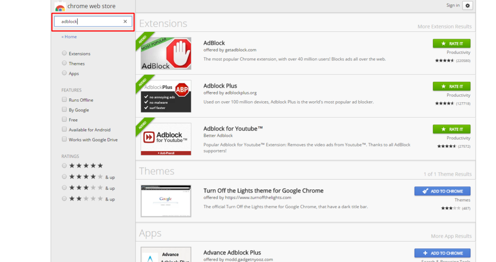 "search ""AdBlock"" in their corresponding search box"