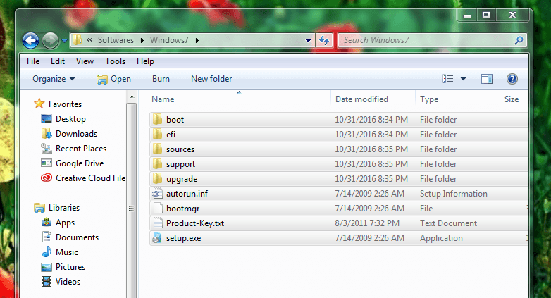 To select all windows 7 files