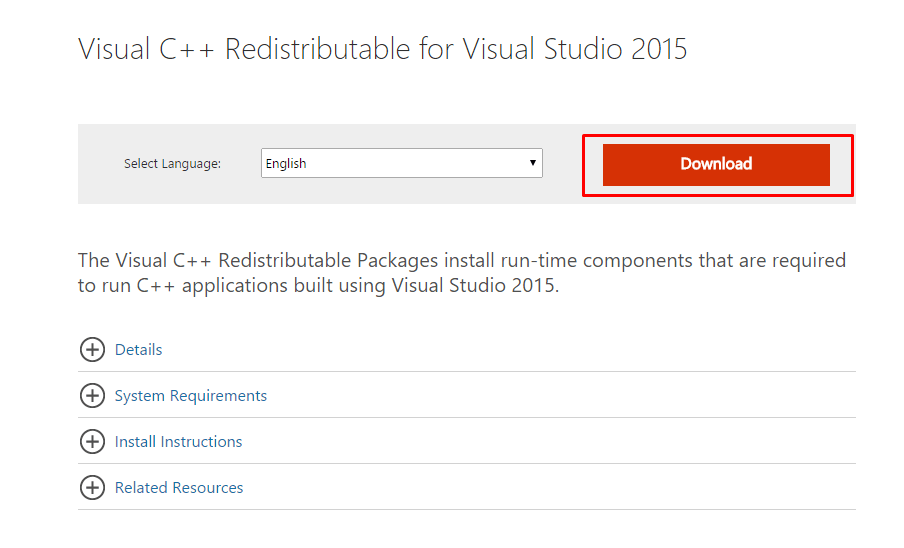 visual c++ redistributable official microsoft page - Error Express