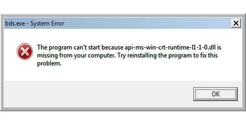 Dll Error on your system api-ms-win-crt-runtime-l1-1-0.dll is missing error