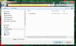 open new toolbar then set specified folder path