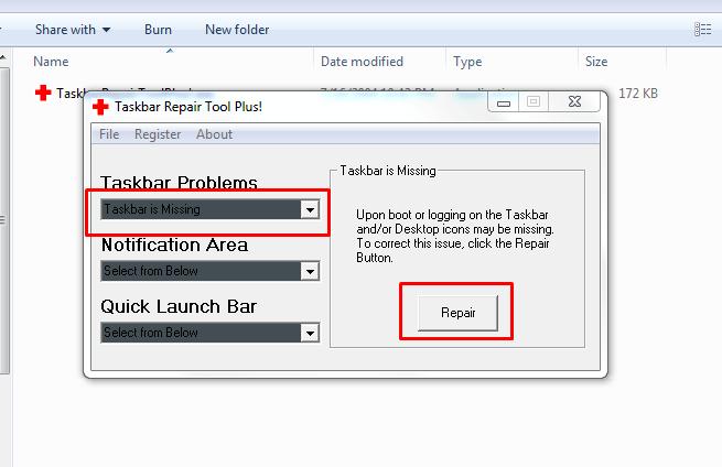 restore taskbar icons
