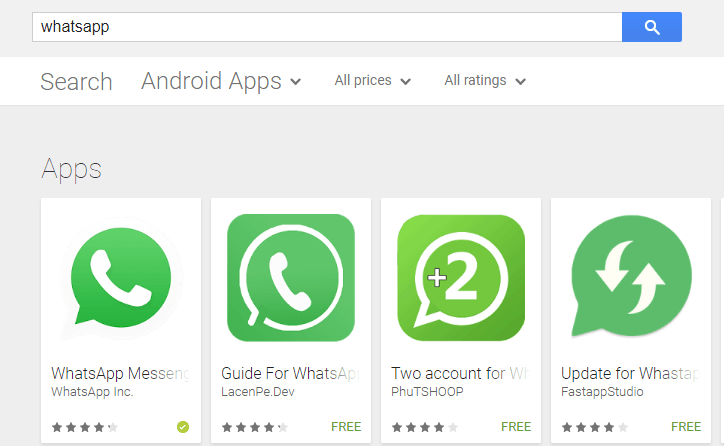 To download whatsapp on playstore