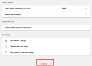 google chrome advanced options