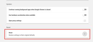 Google Chrome Restore settings