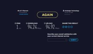 Internet speed details