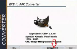 click convert button for exe to apk