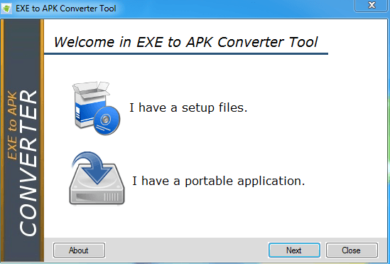 convert exe file into apk mobile application