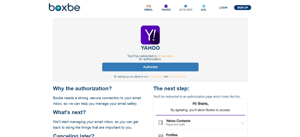 Authorize Boxbe Email Address for Yahoo,Outlook and AOL
