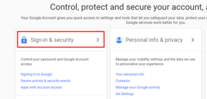 Sign in and security option for google mail