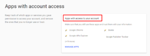 apps with access to your account option in gmail
