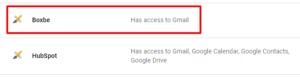 Boxbe application associated with gmail
