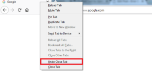 Choose the option undo close tab helps to recover closed tabs