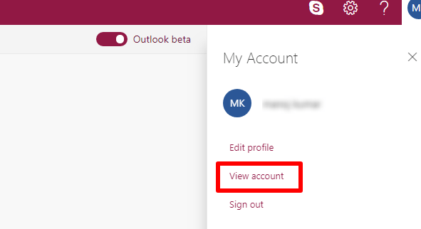 View account option in outlook mail
