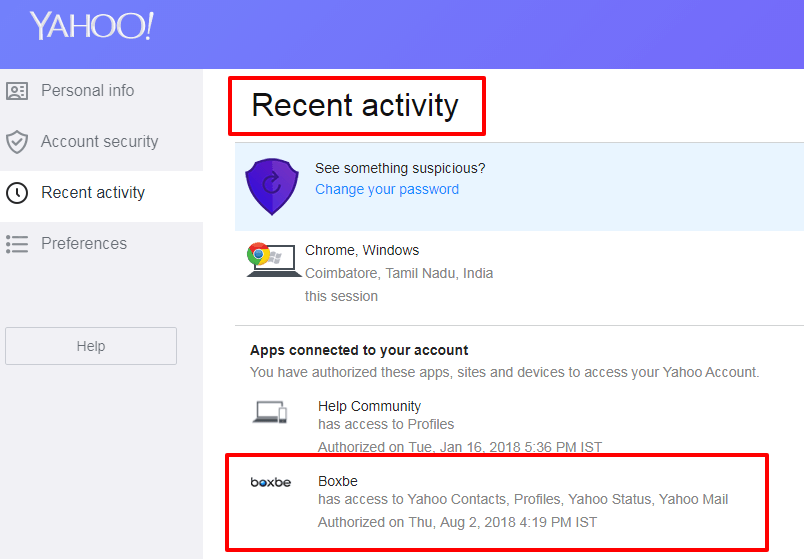 yahoo list of connected apps recent activity page