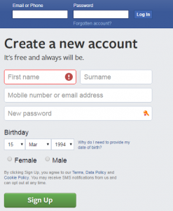 facebook login or sign up page
