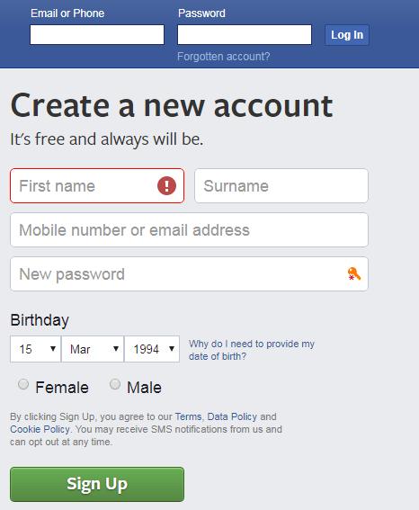 facebook login or sign up page