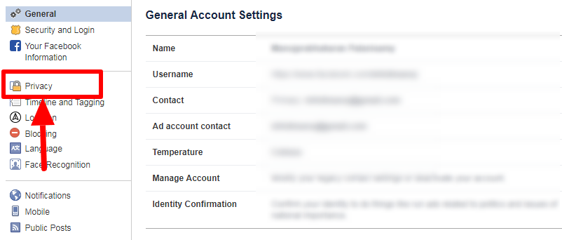privacy option for facebook general settings page