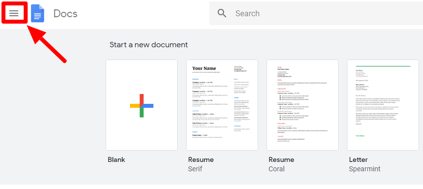 google docs main page burger menu