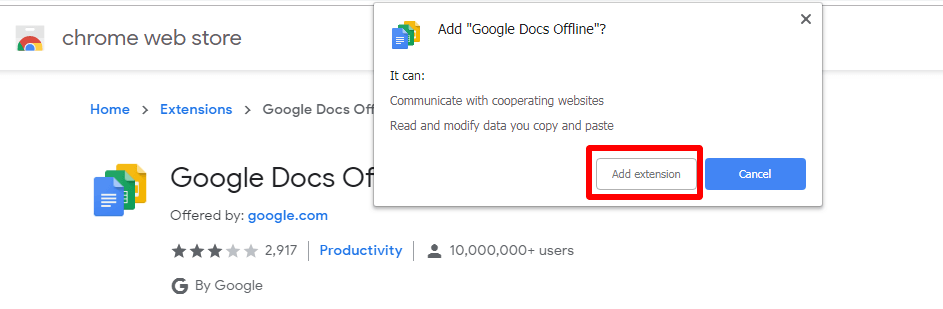 google chrome web browser click the add extension button