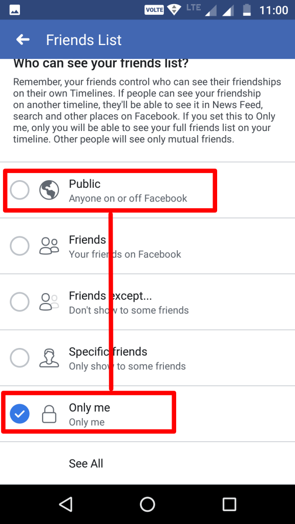 Facebook change friends list privacy public into only me