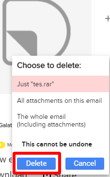 dittach gmail attachment delete confirmation