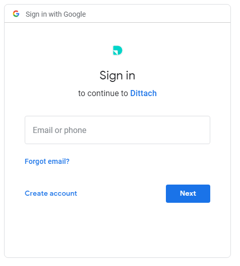 dittach popup asking gmail username and password