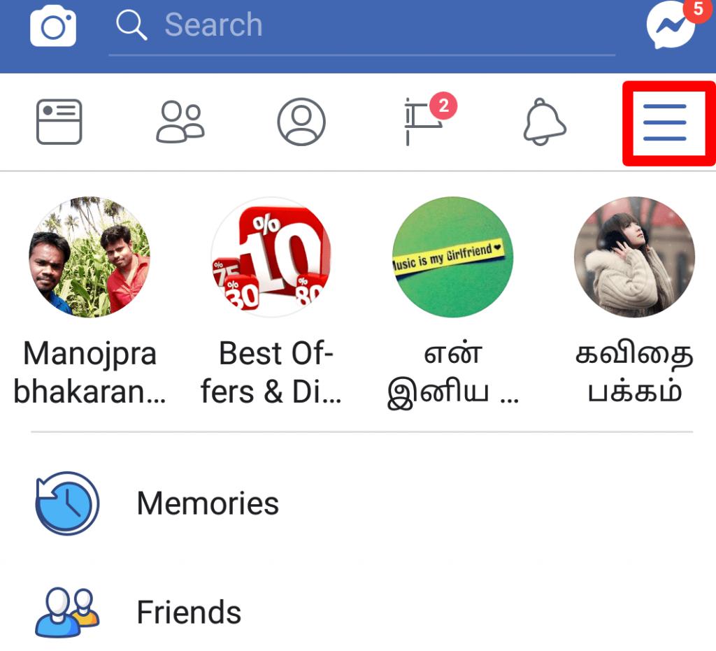 Facebook mobile application hamburger menu