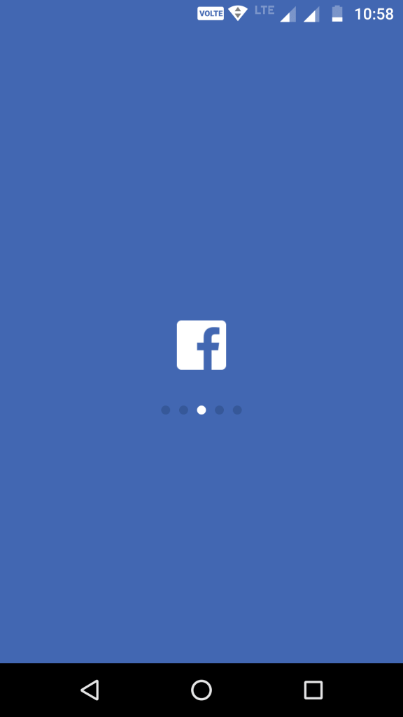 facebook loading screen in mobile devices android and IOS
