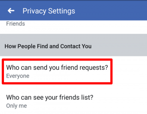 facebook app who can send your friend request option