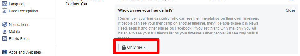 change friends list privacy public into only me