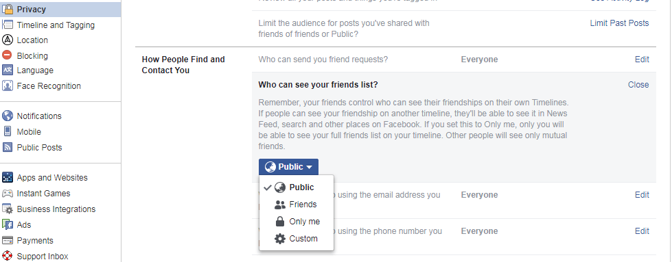 List of friends list privacy customization options