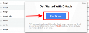 get started with detach permission for access gmail account