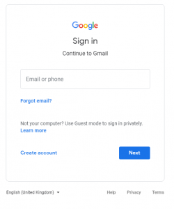 gmail username password sign in page