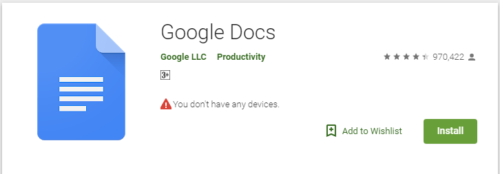 google docs application download from playstore that supports android mobiles
