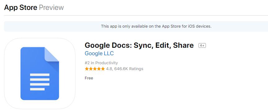 google docs ios application in app store
