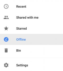 google docs application offline option